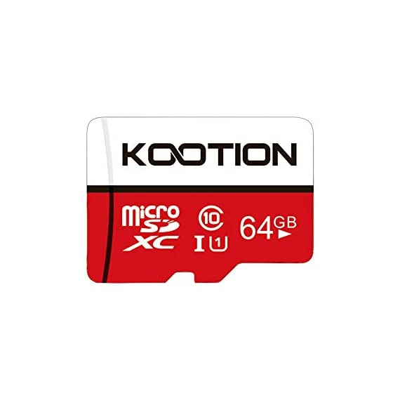 KOOTION 64GB Micro SD Card Class 10 TF Card UHS-1 MicroSDXC Memory Card, U1, C10, High-Speed 64GB TF Card for Smartphone… 1 【Widely Used】The 32 GB micro SD card is perfect for Android smartphones, tablets, digital cameras, game consoles, dash cameras, drones and surveillance system etc; It can use to store or back up high-res photos, videos, documents, music and more. 【Fast Transfer Speed】The TF memory card adopts Speed Class UHS-I(U1) and Class 10(C10) and provides you with 90MB/s of read speed and 25MB/s of write speed, and supports full HD video recording. (The Performance may vary based on host device, interface, usage conditions, and other factors.) 【Reliability & Security】The Micro SD card uses high-quality chip, features water-resistant, anti-magnetic, shockproof, high or low temperature resistant, and always keeps data safe.