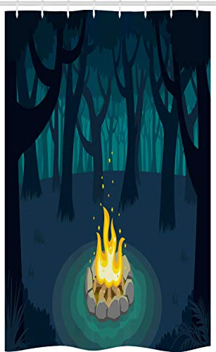 ABAKUHAUS happy Camper Douchegordijn, Kampvuur Woods Night, voor Douchecabine Stoffen Badkamer Decoratie Set met Ophangringen, 120 x 180 cm, Dark Violet Blue Teal