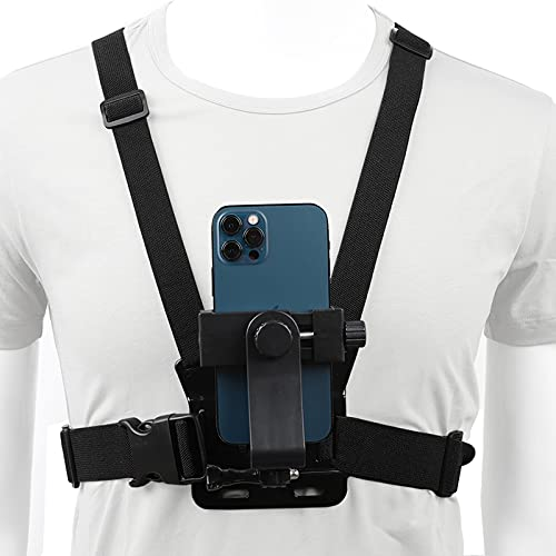 Pellking Mobile Phone Chest Mount Harness Strap Holder Cell Phone Clip Action Camera POV for Samsung iPhone Plus etc