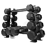 XPRT Fitness Rubber Dumbbell Stand – Dumbbell Storage Rack, Perfect for 5-30 lbs Set – 2 Tiers & 2 Vertical Slots with Protective Inserts – Compact & Versatile Design, Max. Weight 400 lbs.