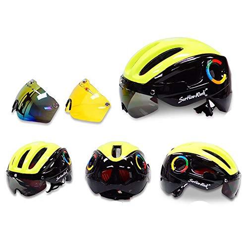 AN-JING Occhiali da Equitazione Sportivi Esterni Casco da Bici da Montagna Casco da Strada Tri-Colore Opzionale Un Colore Beni Durevoli (Color : 4, Size : M)