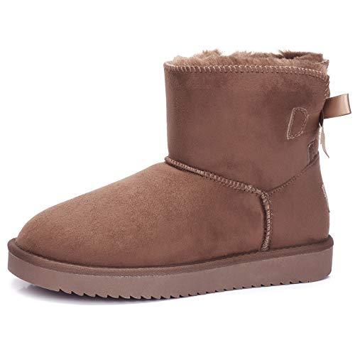 CAMEL CROWN Schlupfstiefel Damen Winterschuhe Faux Wildleder Winter Warm Bowknot Boots Winterstiefel Flach Klassisch Stiefeletten rutschfest für Casual