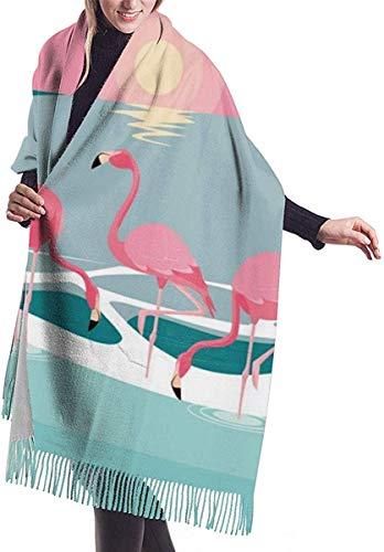 Imitate Cashmere Voel Winter Sjaal Pashmina Sjaal Wraps Zachte Warm Deken Sjaals Elegante Wrap Voor Vrouwen Mooie Flamingos Vogels Flock In Het Landschap