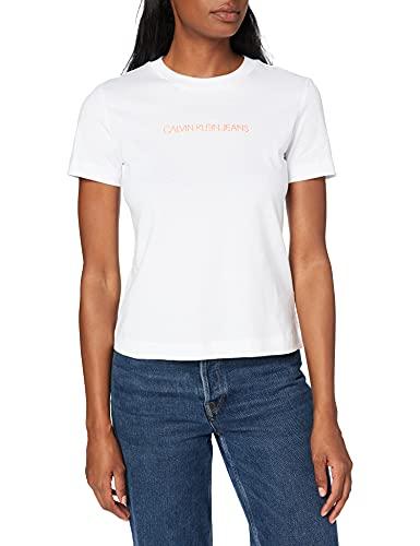 Calvin Klein Jeans Shrunken Institutional tee Cuello extendido, Blanco Brillante, M para Mujer