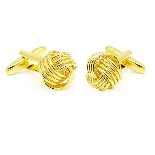 Honey Bear Herren Manschettenknöpfe Lieben Knoten Hochzeit Cufflinks Knoten-Form 1 Paar (Gold)