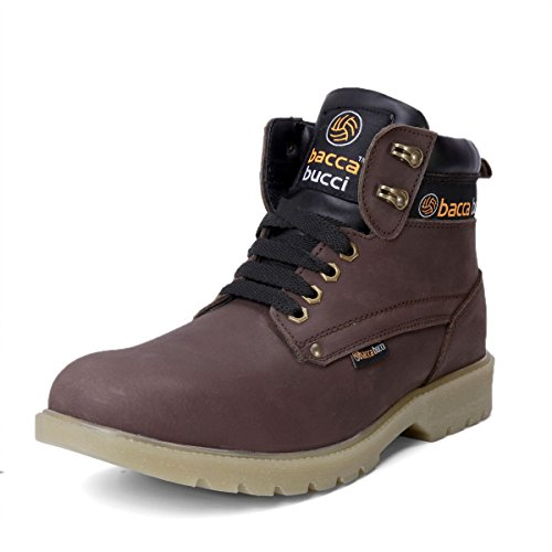 Bacca Bucci Mens 6 inches Premium Water Repelent Steel Toe Cap Real Leather Nubuck Outdoor Laceup Boots/Warranted Qualtiy & Durable Boot-Brown