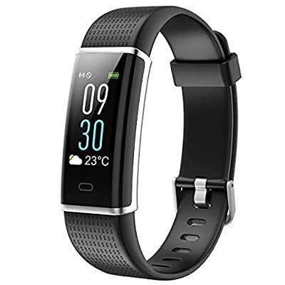 Fitness Tracker HR, ZAOYI Heart Rate Monitoring Activity Tracker Bluetooth Smart Bracelet Band Health Tracker Pedometer with Sleep Monitor Step counter Calorie Burned Sedentary Reminder IP67 Waterproof Smart Watch for iPhone Samsung & Other Android or iOS
