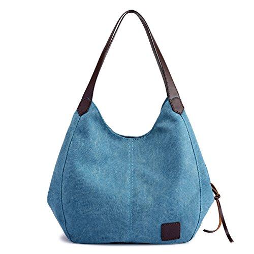 Hiigoo Fashion Women's Multi-pocket Cotton Canvas Handbags Shoulder Bags Totes Purses (Blue)