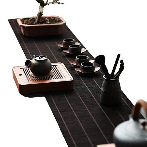 Corredor De Mesa Tejido De Bambú Natural, Estera De Té con Aislamiento Térmico De Estilo Japonés para La Estera De Mesa De Café De La Casa De Té, Manteles Lavables Antideslizantes(Size:30×120cm)