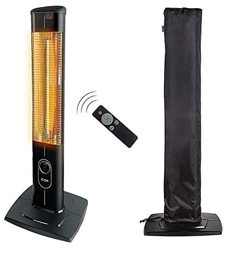 ICQN 2300 W Stand Heizstrahler mit Wasserdicht Schutzhülle | 4 Heizstufen mit Fernbedienung | Kohlenstoff Infrarotstrahler für Innen- & Außenbereich | Terrassenstrahler | Aluminium | Balkon