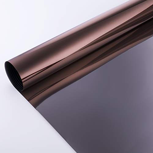 VELIMAX Static Cling Solar Film Reflective Mirror Film Window Tint Non Adhesive UV Blocking Heat Rejection Daytime Privacy (Tea-Brown, 35.4in x 6.5ft)
