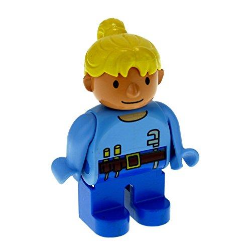 1 x Lego Duplo Figur Frau Wendy Hose dunkel blau Top hell blau mit Werkzeug Haare gelb blond Bob der...