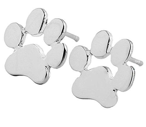LUCKLYSTAR® Aretes Pendiente de Forma de Los Gatos y los Perros Huellas Pendientes de Plata Accesorios de Joyería Regalo de Joyería para Mujeres 1 par (Plateado)