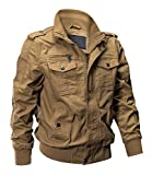 EKLENTSON Mens Field Jacket Fall Jackets for Men Military Jacket Mens Fashion Jackets Cargo Jacket Khaki