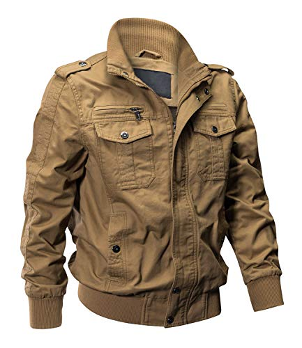 EKLENTSON Men's Cotton Military Jackets Casual Outdoor Coat Windbreaker Jacket Khaki