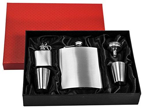 EYEPOWER Flachmann-Set Geschenkbox Edelstahl 210 ml Trichter, 2 Bechern, Schlüsselanhänger Silber