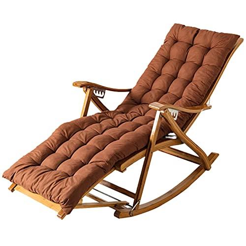 BANNAB Schaukelstuhl, klappbarer Holzsessel, 6-Fach verstellbare Rückenlehne, Garten-Sonnenliege Outdoor-Liegestuhl mit verlängerter Fußstütze, mit Kissen