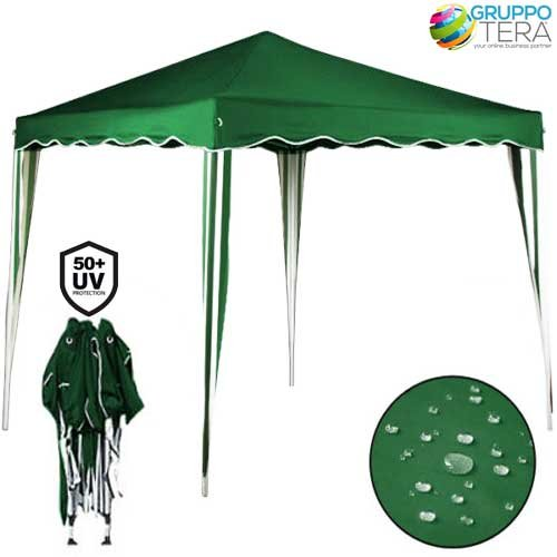 Bakaji - Cenador de 3 x 3 m, Plegable, Impermeable, Plegable, 3 x 3 m, toldo de jardín, Lona Impermeable, Estructura de Metal, Apertura y Cierre de acordeón, Modelo Ischia (Verde)