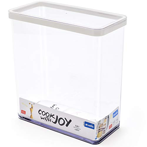 Rotho Loft rechteckige Vorratsdose 3,2l mit Deckel und Dichtung, Kunststoff (SAN) BPA-frei, transparent/weiss, 3,2l (20,0 x 10,0 x 21,4 cm)