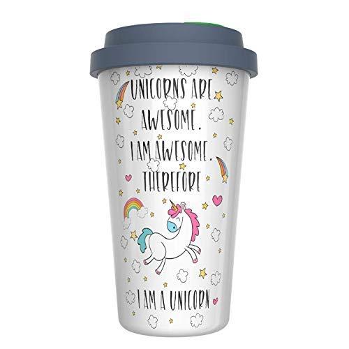 "Ceramic Travel Coffee Mug with Lid (12 oz) - Unicorns Are Awesome - I am Awesome - Therefore I Am A Unicorn - Funny Coffee Mug - Double Wall Ceramic - BPA-Free Lid - Dishwasher Safe. 5.6""x 3.5"""