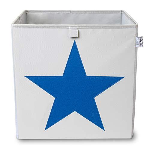 wonneklein Caja de almacenamiento con forma de estrella, extra estable, (33 x 33 x 33 cm) para almacenamiento en estantería de cubos, gris con diseño de estrella brillante como decoración, color azul