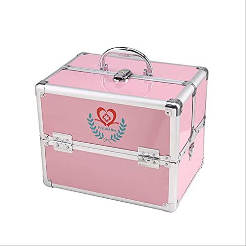 LYHD Große Doppelöffnung Medizin Box Haushalt Medizin Box Großraumfamilie Multi-Layer Medizin Aufbewahrungsbox Erste Hilfe Besuchen Sie Box Pharmazeutische Box,Rosa