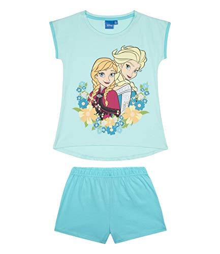 Disney Die Eiskönigin Mädchen Shorty-Pyjama mit Rubber-Druck Kinder Schlafanzug 2-teilig Hellblau 128