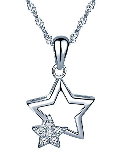 Infinite U Fashion - Collar con colgante de plata de ley 925 con circonitas cúbicas para mujer y niña, color plateado