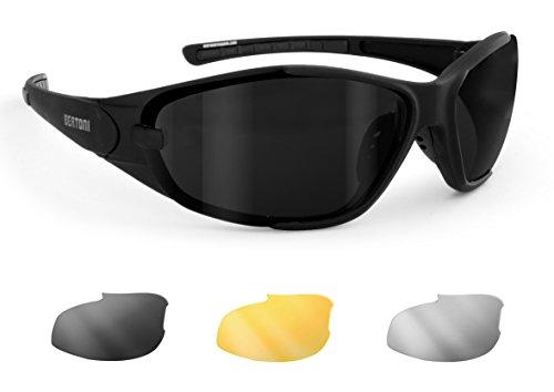 Gafas de Moto 3 Lentes Anti-Vaho Intercambiables Incluidas - Gafas para Cascos - AF109A Negro Mate by Bertoni Italy