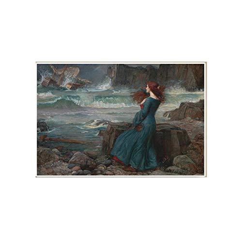 John William Waterhouse Tempest Lienzo óLeo Pintura CláSico Mujer Poster Impresiones Vintage Pared Arte Cuadros para Salon Decoracion 50x70cm No Marco
