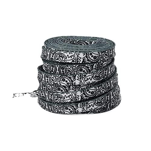 Sjzwt Ocasionales de los deportes de baloncesto cordones de zapatos de anacardo Flores cordones pintados a mano, Negro, 120cm