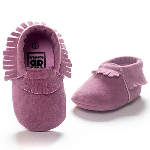 CENCIRILY Infant Baby Girls Boys Cozy Moccasins Slippers Tassels Suede Leather Sole Soft First Walkers Crib Shoes
