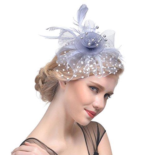 Yujeet Sombreros Y Tocados De Mujer Diadema De Novia Transparente Headwear Para El Cóctel De La Boda Y Muchas Otras Ocasiones Plateado Gris One Size