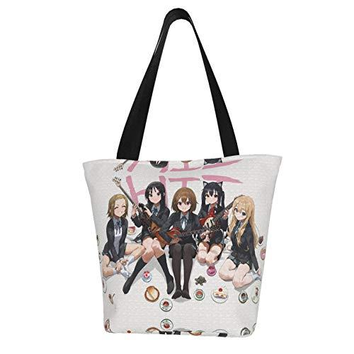 K-ON - Borsa a tracolla in poliestere stampato, borse per la spesa, borse a tracolla, borse in tela, borse e borse a tracolla, riutilizzabili