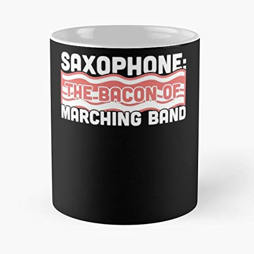 Saxophone Chair Camp First Marching Clever Funny Band I FSGdesign- Best Mug holds hand 11 oz made from White marble ceramic