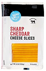 Amazon Brand - Happy Belly Sliced Sharp Cheddar, 10 Slices,  8 Ounce
