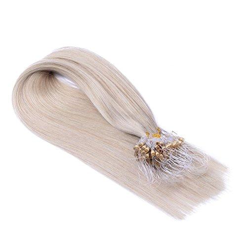 Micro-Ring/Loop Hair Extensions (#GRAU - 50 cm - 100 Strähnen - 0,5g) 100% Remy Echthaar Haarverlängerung Micro Ring Remy Qualität, ganz leicht einzusetzen - by Haar-Profi