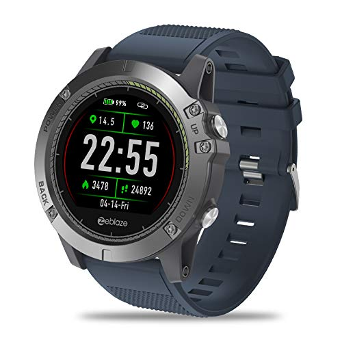 Zeblaze Super Lightweight Vibe 3 HR Smart Watch, Rugged Inside Out HR Monitor 3D UI All-Day Activity Record 1.22' IPS IP67 Waterproof Smart Watch for Activity Tracker Blue