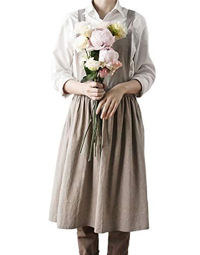 Idopy Delantal de lino para mujer con diseño de pintores, ideal para cocinar, barbacoa, Caqui, Talla única