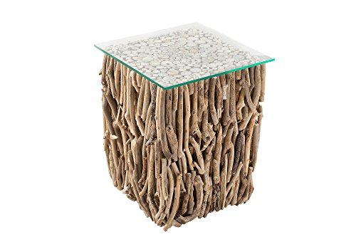 DuNord Design Beistelltisch Mali Treibholz Massiv Glasplatte 40cm Natur Couchtisch Holztisch Glastisch
