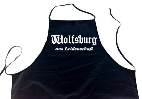 ShirtShop-Saar Wolfsburg aus Leidenschaft; Städte Schürze (Latzschürze - Grillen, Kochen, Berufsbekleidung, Kochschürze), schwarz