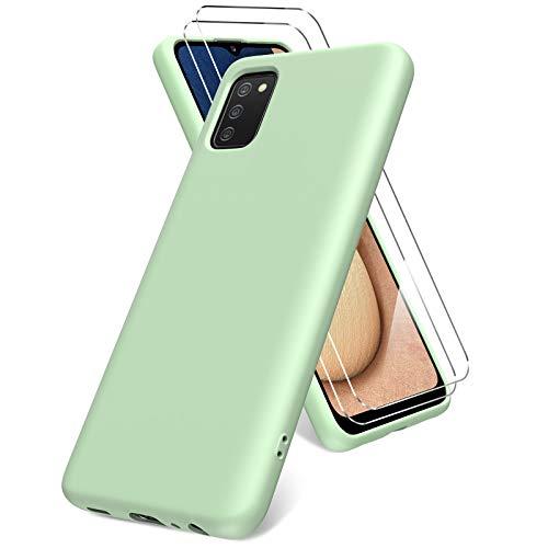 Vansdon Cover per Samsung Galaxy A02s, 2 Pellicola Protettiva in Vetro Temperato, Gomma Gel di Silicone Liquida Antiurto Custodia - Verde Erba
