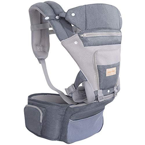 Ergonomic Baby Carrier with Hip Seat for Newborn and Breastfeeding, Three-Speed Foldable, 6-in-1 Baby Carrier with Waist Stool, Suitable for Babies of All - Adapt to Newborn, Infant & Toddler, Grey