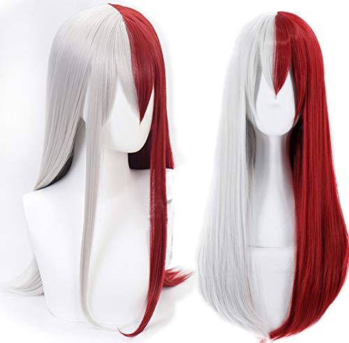 Anogol Hair Cap+Silver Half Red Long Wavy Cosplay Wig With Bangs Ombre Synthetic Wigs Hair