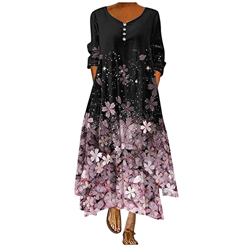 OutTop Women Plus Size Floral Dress Trendy Button Down Loose Long Sleeve Maxi Dresses Oversized Boho Summer Dress (03-Pink, XXL)