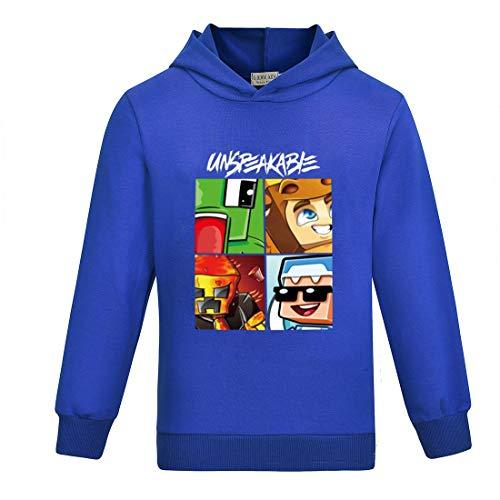 Kinder Lustiges YouTube Gamer Langarm Kapuzenshirt T-Shirt für Jungen und Mädchen Tees Tops Hoodies Gr. 7-8 Jahre, Blau 1