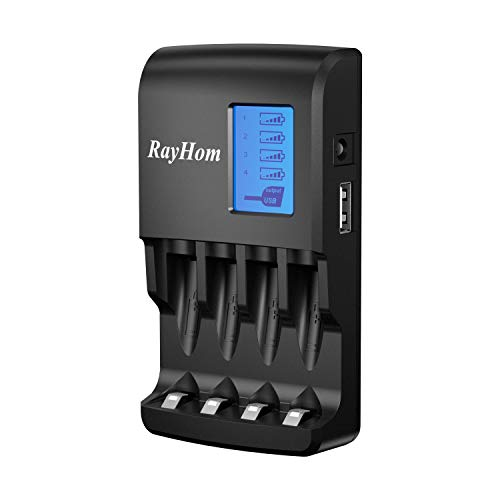 RayHom AA & AAA Battery Charger - with LCD Display and USB Outlet Fast Recharge for Ni-MH Ni-CD Rechargeable Batteries