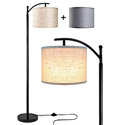 Rottogoon Floor Lamp for Living Room, LED Standing Lamp with 2 Lamp Shades Tall Industrial Arc Floor Lamp Reading for Bedroom, Office, Study Room (9W LED Bulb, Beige & Gray Shades Included)
