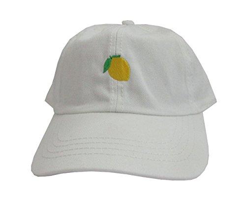Lemon Emoji White Unstructured Twill Cotton Low Profile Dad Hat Cap