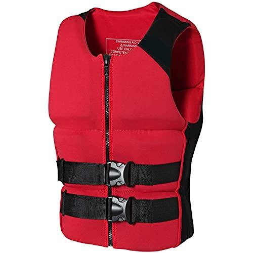 HJCC Chaleco Salvavidas para Adultos, Neopreno Chaleco De Seguridad De Ayuda A La Flotabilidad De Kayak Chaleco Deportivos Acuáticos Barco,Rojo,XXL
